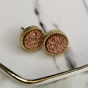 Jewelry - Rose Gold Druzy Round Stud Earrings